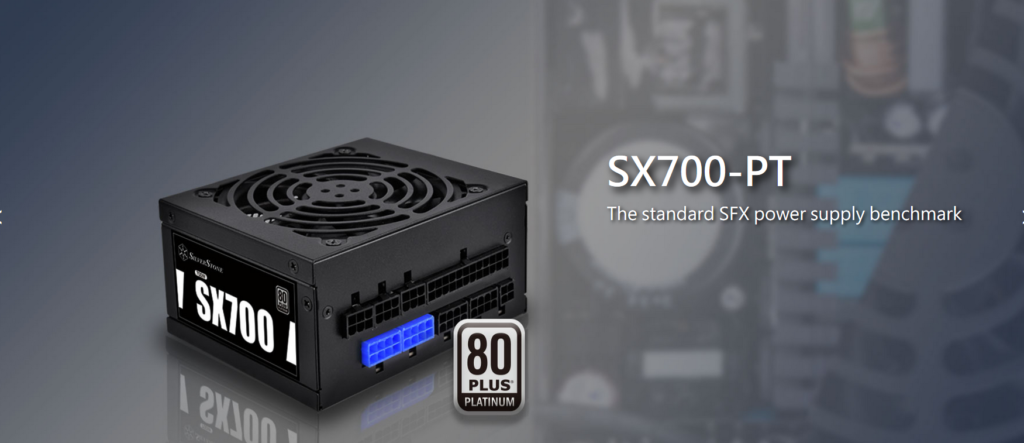 silverstone sx700-pt power supply pr shot on dark background