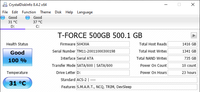 TeamGroup T-Force Vulcan 500GB SSD CrystalDiskInfo