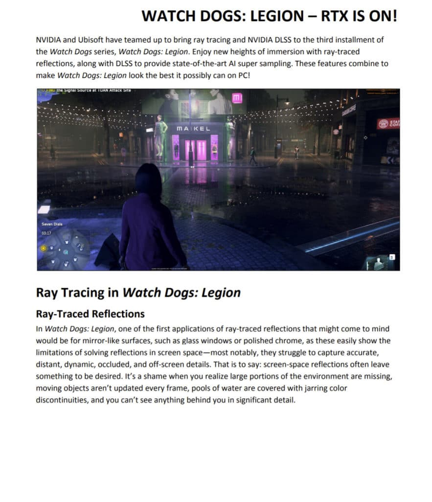 Watch Dogs Legion NVIDIA Ray Tracing Information from the reviewers guide