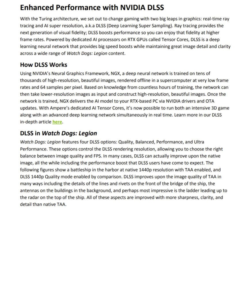 Watch Dogs Legion NVIDIA DLSS Information from the reviewers guide