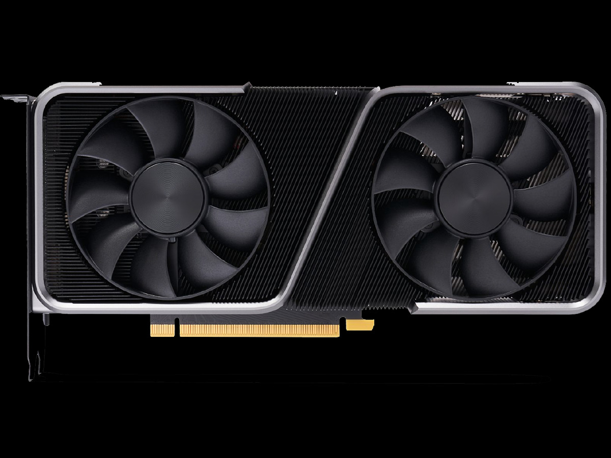 NVIDIA GeForce RTX 3070 Founders Edition Video Card Top Down View on Black Background Featured Image