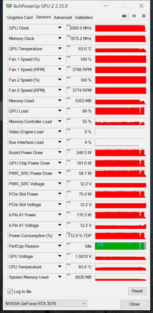 NVIDIA GeForce RTX 3070 FE Overclocking GPUz Overclocked Sensor Data