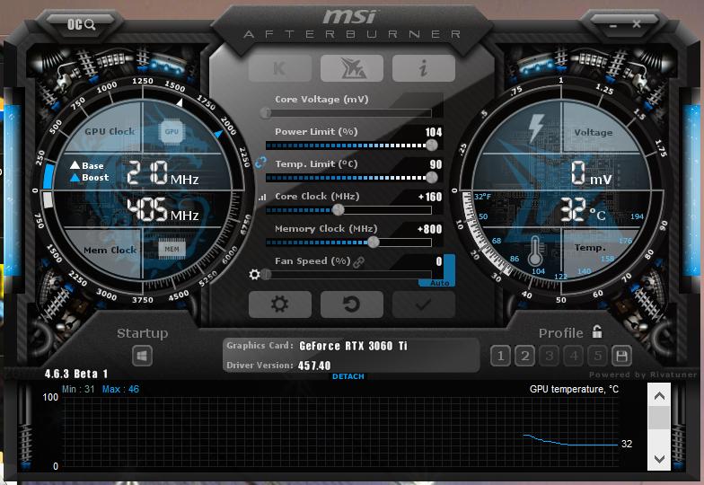 MSI GeForce RTX 3060 Ti GAMING X TRIO Video Card MSI Afterburner Highest Stable Overclock