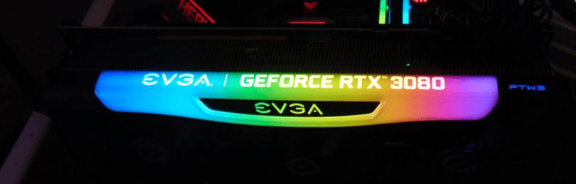 EVGA GeForce RTX 3080 FTW3 ULTRA GAMING video card RGB logo