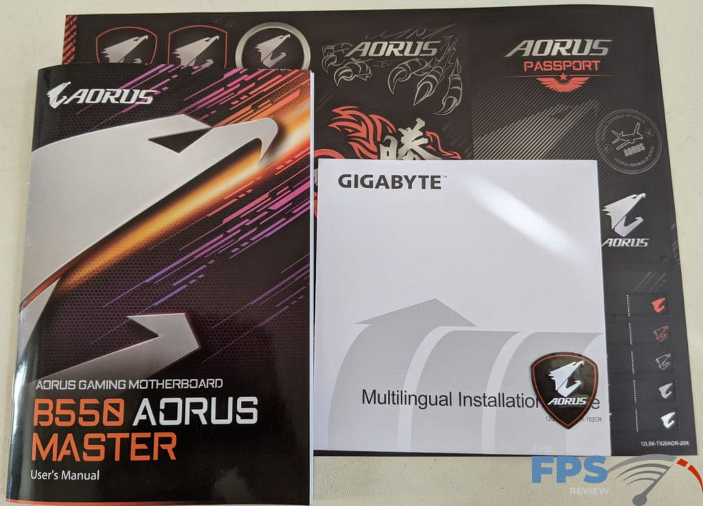 GIGABYTE B550 Aorus Master Included Documents