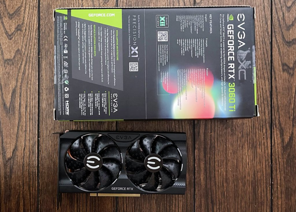 EVGA GeForce RTX 3060 Ti XC GAMING and the rear of the box