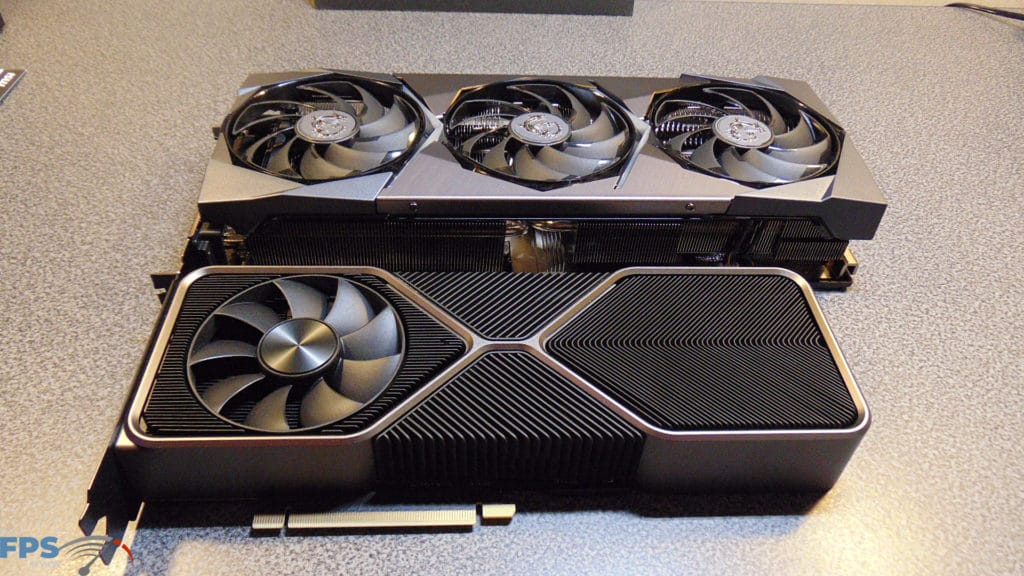 MSI GeForce RTX 3080 SUPRIM X and GeForce RTX 3080 Founders Edition Angled View