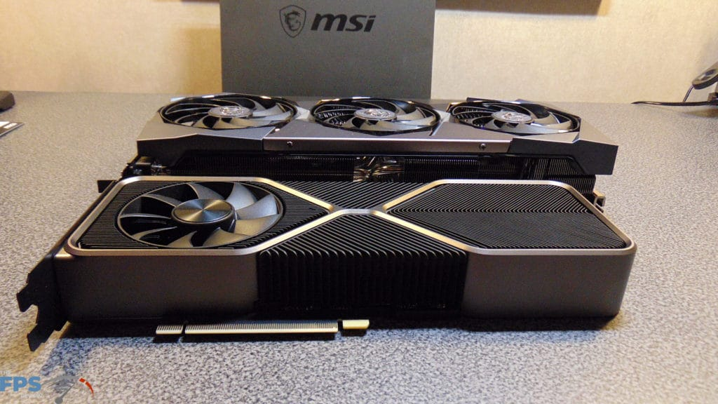MSI GeForce RTX 3080 SUPRIM X and GeForce RTX 3080 Founders Edition Side View