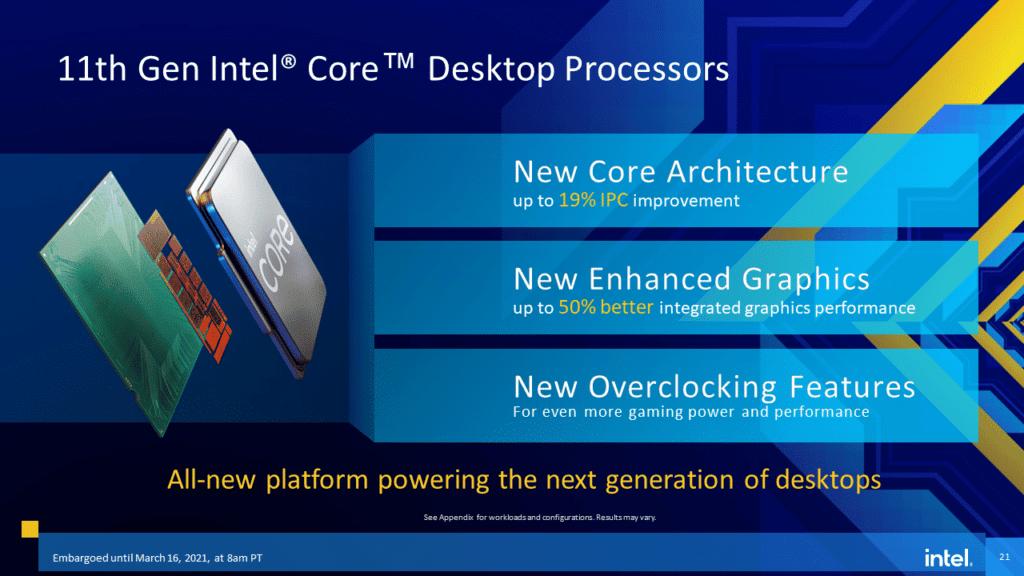Intel 11th Gen Core Desktop Processor  Rocket Lake-S Key Marketing Points IPC Integrated Graphics Overclocking