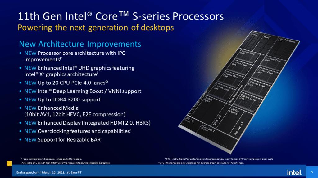 Intel 11th Gen Core Desktop Processor  Rocket Lake-S Architecture Improvements
