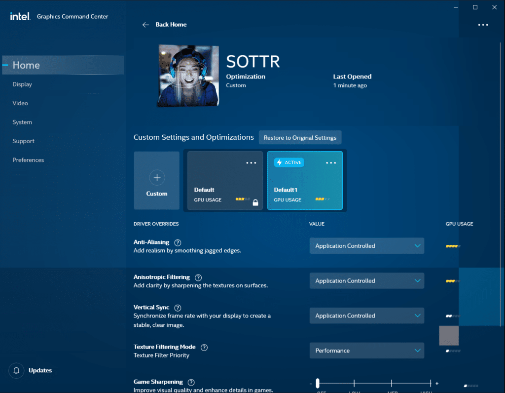 Intel Graphics Command Center Game Profile 3D Settings